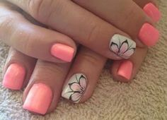 Pink & White | Side Flower | Nails