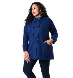 Casaco Plus Size Lã Batida Azul Lenner Plus Size 0120c3c6e3c7c