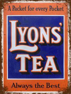 LYONS TEA SIGN Old Effect Advertising Sign Upto HUGE 4 ft Vintage Kitchen Sign
