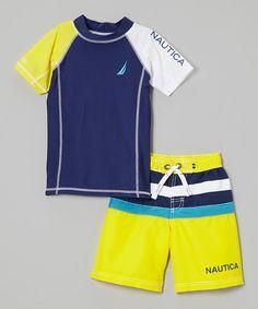 Nautica Yellow Rashguard & Swim Trunks - Toddler & Boys by Nautica #zulily #zulilyfinds
