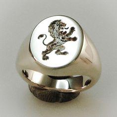 Rampant lion  crest engraved silver signet ring