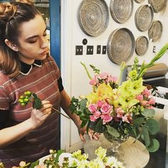 Annelise is carefully crafting a custom floral delivery for someone special! Vashon Island Wa, Sleepless In Seattle, Gladiolus, Floral Bouquets, Pink Roses, Floral Design, Sunshine, Crafting, Bloom