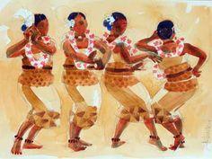 Four Tongan Female Dancers, Watercolour Tongan Culture, Polynesian Culture, Polynesian Dance, Polynesian Cultural Center, Female Dancers, South Pacific, History, Hula, Art Google