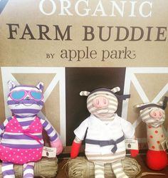 New Catnap Kitty and Pork Chop from the Farm Buddie Range are chilling out in front of the Barn waiting for the other Buddies to arrive #appleparkaustralia #organiclife #organicfarmbudfies #farm #farmanimals #cute #love #kidstoys #baby #babytoys