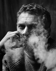smokingissexy:    Steve McQueen    Probably my second fav blonde actor.  Taugh one. Obscene moking.