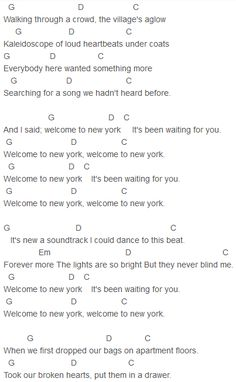Taylor Swift - Welcome To New York Chords
