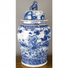 Blue and White Porcelain Temple Jar