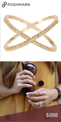 ⋙NEW ARRIVAL⋘ 18K Gold Plated Pave X Ring Add a little sparkle to your outfit. This X Ring is super cute worn alone or paired with other rings. {{Midi rings are also available in my closet}}  Composed of 18K Gold Plated Metal, Glass Crystals Nickel free, Lead free  If you would like to make an offer, please use 'Offer' feature  ⟨10% off 2+ bundles ≫ One time shipping fee⟩ NO trades T&J Designs Jewelry Rings