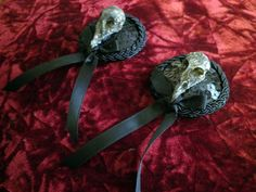 Sequinned Resin Cast Bird Skull Pasties by idolatre on Etsy