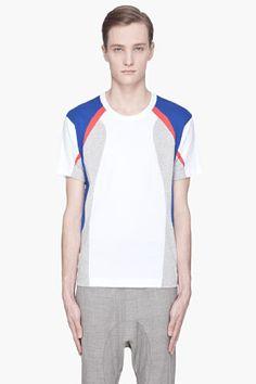 Comme Des Garçons Shirt Blue And Red Cotton Jersey T-shirt for men | SSENSE