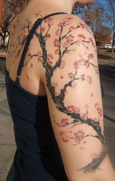 43 Ideas Cherry Blossom Tree Tattoo On Shoulder Tat For 2019 Tree Tattoo Arm, Blossom Tree Tattoo, Branch Tattoo, Arm Band Tattoo, Tree Tattoos, Deer Tattoo, Raven Tattoo, Circle Tattoos, Blossom Trees