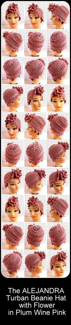 Crochet Hat, Crochet Womens Hat,  ALEJANDRA Crochet Turban Hat, Crochet Flower by strawberrycouture on Etsy in Plum Wine Pink $40.00 #turban #turbantes #crochethats #handmade #handmadegifts #etsy
