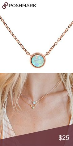 Simulated Opal Necklace Simulated Opal necklace with 16inch chain (14k gold plated chain) Jewelry Necklaces