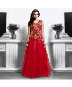Red Net Semi Stitched Gown  #ohnineone