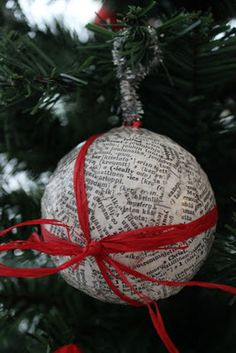 Old dictionary turned into a Christmas decoration