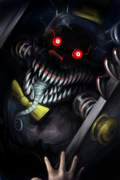 Hello There..I'm Nightmare * Grins And Shows Sharp Teeth * I'm In Your Nightmares My Friend Is Nightmare Fredbear I Love Scareing Little Kids...Good Luck I Will Maybe Kill You. * Said Creepy/Dark * (ME)
