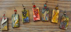 Encaustic pendants by Leslie Lovell Resin Jewellery, Encaustic Painting, Amulets, Plaster, Ds, Folk Art, Roots, Mixed Media, Handmade Jewelry