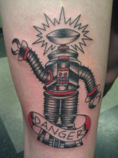 Love this one of Robot B-9 from Lost in Space in classical Americana Tattoo style!!