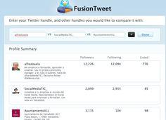 FusionTweet, Una muy sencilla herramienta que permite comparar hasta 3 cuentas de Twitter.