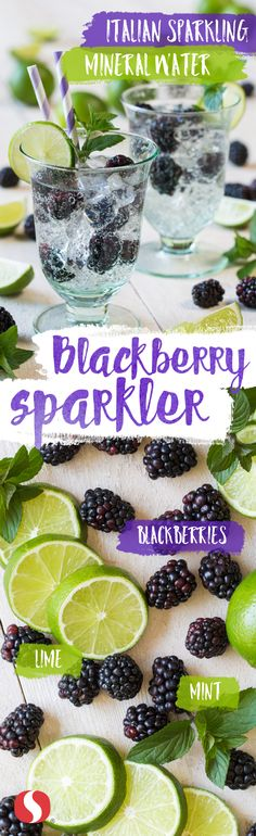 This Blackberry Sparkler recipe is simple and perfect for keeping cool, even in the middle of a heat wave! Just mix blackberries, lime and mint leaves with mineral water for this refreshing summer treat. by TomiSchlusz Summer Drinks, Fun Drinks, Healthy Drinks, Healthy Snacks, Healthy Recipes, Alcoholic Beverages, Cheers, Yummy Food, Tasty