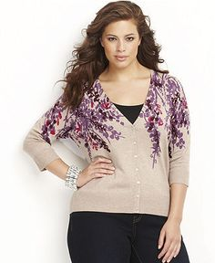 INC International Concepts Plus Size Sweater, Three-Quarter-Sleeve Printed Cardigan - Plus Size Sweaters - Plus Sizes - Macy's