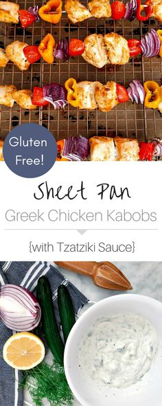 These gluten-free chicken kabobs are flavorful and juicy! Served with fresh, homemade tzatziki sauce! Chicken Spices, Chicken Recipes, Greek Chicken Kabobs, Healthy Weeknight Meals, Weeknight Dinners, Homemade Tzatziki Sauce, Greek Recipes, Paleo Recipes, Yummy Recipes