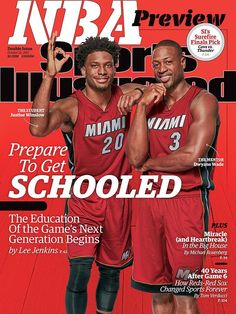October 26, 2015 | Four NBA teams are featured on the cover of this week's NBA Preview issue of Sports Illustrated, which takes a look at how each team's superstars will act as mentors to their next wave of stars,including Dwyane Wade and Justice Winslow (pictured at right).