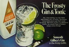 Gilbeys gin frosty bottle ad 1979