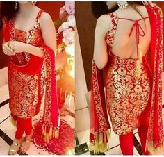Beautiful Red Brocade Punjabi suit... must have for the girls...