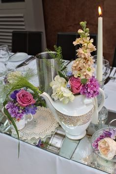 """""""Everything Stops for Tea"""" at Sophie & Nick's Wedding at Dalton St Mary's Church & The Swan at Newby Bridge Afternoon Tea Wedding, Flower Designs, Swan, Everything, Mary, Table Decorations, Bridge, Weddings, Wedding"""