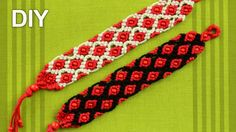 FRIENDSHIP BRACELET - MACRAME with rhombus and small beads. In this style you can even make a belt - Tutorial - Rhombus