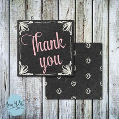 INSTANT DOWNLOAD - Modern Chalkboard Party Favor Square Thank You Tag #party #printable #partyfavor #diy