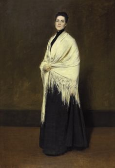 """Portrait of Mrs. C. (Lady with a White Shawl) (1893). William Merritt Chase (American, 1849-1916). Oil on canvas. PAFA. Chase described the subject as """"the perfect type of American womanhood."""" It has been suggested that she was Chase's wife or perhaps Emily Jewell Clark, a wealthy art collector. One of the artist's favorite models during the early 1890s was Minnie Clark. Chase's use of only the subject's initial and a generic title suggests a tendency to conceive of his portrait as an ideal…"""