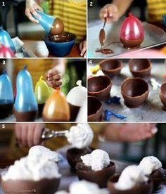 Chocolade kommetje gemaakt met een ballon