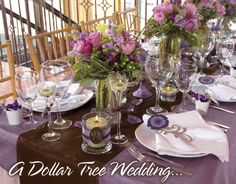 A beautiful Dollar Tree Wedding.  These ideas are great anytime party ideas!!! Click for more ideas!  You can really get so much more for your money without a sacrifice.  Browse Pinterest for even more ideas from the Dollar Tree.