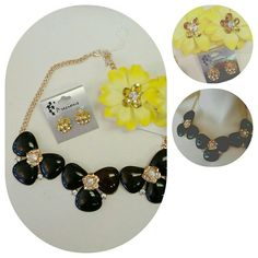 Black and gold Bundle of accessories Bundle of accessories | black flower necklace| yellow hair flowers | crown earring | all included in price | perfect condition | and find 300+ items for sale goodiebag  Jewelry