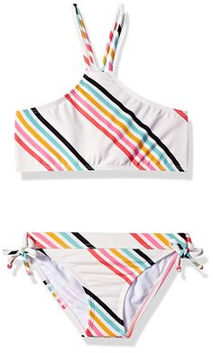 Billabong Women's Big Girls' Seeing Rainbows Hi Neck Two Piece Swim Set