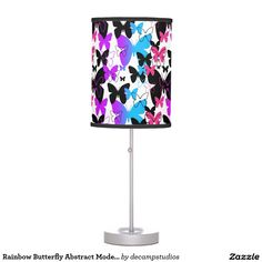 Rainbow Butterfly Abstract Modern Art Teen Girl Table Lamps