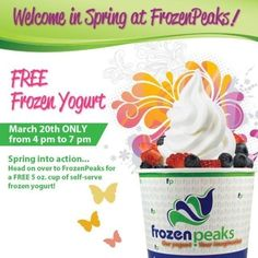 """#freefroyo @FrozenPeaks's photo: """"It's almost that time of the year! Spring is near and that means free frozen yogurt! #FrozenPeaks #frozenyogurt #froyo #tasty #instafroyo #instagood #instaphoto #yummy #yum #sweet #yogurt #FPnation #instagood #delicious #healthy"""""""