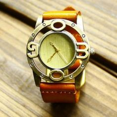 Genuine Leather Cutout Strap Watch