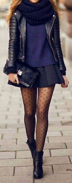 these tights are perfect! love the knits with the edgy jacket. great styling.