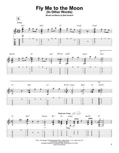 New guitare/ukulele sheet music on Modern Score : Bart Howard: Fly Me To The Moon (In Other Words) - Partition Tablature Guitare - € Partition Tablature Guitare Guitar Tabs Acoustic, Jazz Guitar Chords, Jazz Guitar Lessons, Guitar Tabs Songs, Music Theory Guitar, Easy Guitar Songs, Guitar Sheet Music, Guitar Solo, Guitar Tips