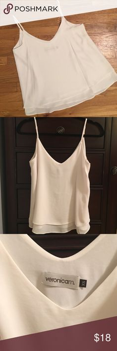 🎉 HOST PICK 🎉 NWOT Veronica M Chiffon Cream Tank NWOT Veronica M Chiffon Tank Top in Cream with adjustable straps and double layer so that it isn't see through. High quality, pretty, and great basic/neutral tank that will go with everything. Light/flowy & comfortable. Comes from a pet-free + smoke-free home & will ship same or next day! Tank pictured in an XS, tank for sale is the exact same top but in a M*** Veronica M Tops Tank Tops