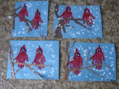 Hand print/Torn paper Winter Cardinals