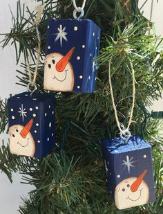 Snowman Christmas tree ornaments set of 3 by EZpickets on Etsy
