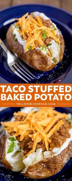A perfect baked potato stuffed with spicy taco meat and topped with cheese, sour cream and onions - my Taco Stuffed Baked Potatoes are a delicious way to change up your Taco Tuesday. Meat And Potatoes Recipes, Meat Recipes, Mexican Food Recipes, Cooking Recipes, Cheese Potatoes, Potato Stuffing Recipes, Skillet Recipes, Dip Recipes, Recipes