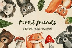 Watercolor forest baby animals. Woodland children's friends Watercolor Logo, Watercolor Design, Watercolor Animals, Pencil Illustration, Graphic Illustration, Illustrations, Baby Animals, Cute Animals, Cute Animal Clipart