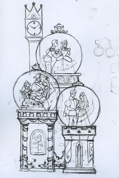 Steve Thompson Sketch - Cinderella, Beauty and the Beast and Sleeping Beauty Snow Globes