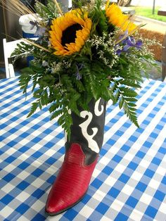 DIY Centerpiece Great for Country Western Theme rehearsal-dinners