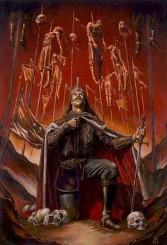 Vlad Tepes, also known as Vlad Dracul. He is the character that inspired the fictional character Dracula, due to his extremely painful and bloody way to execute enemies, impaling them while alive. Vlad Der Pfähler, Vlad El Empalador, Dark Fantasy Art, Dark Art, Bram Stoker's Dracula, Arte Horror, Horror Art, Transylvania Dracula Castle, Monsters